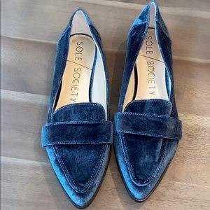 Sole Society Edie Velvet  Loafer Cloud Blue 8.5